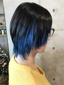 サファイアブルーのインナーカラー★